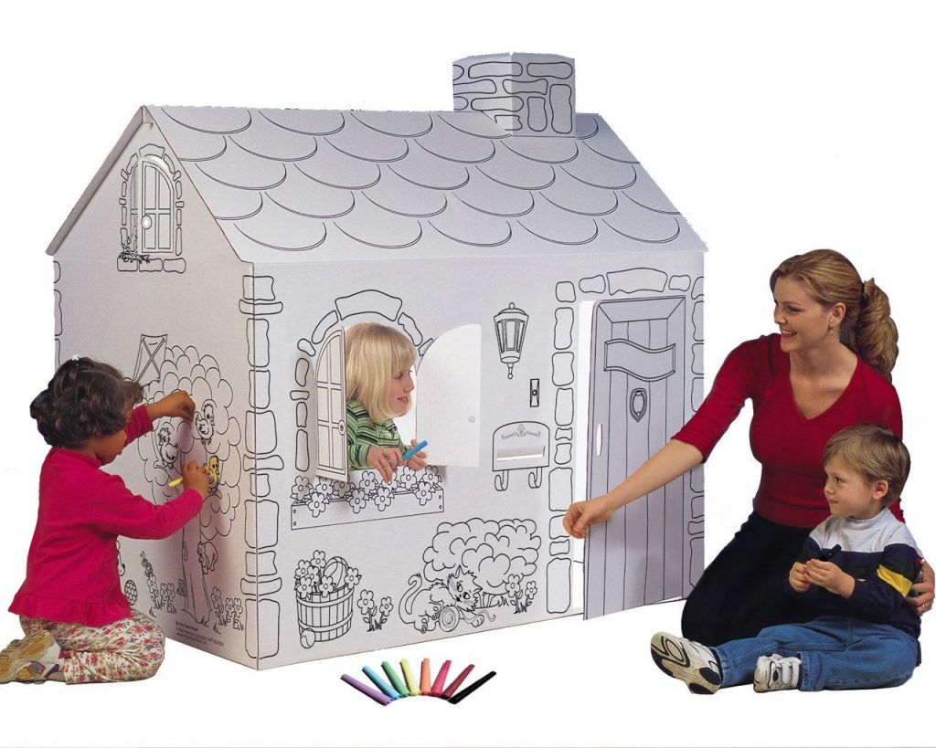 Turning cardboard boxes into your child s dream playhouse for Make my house